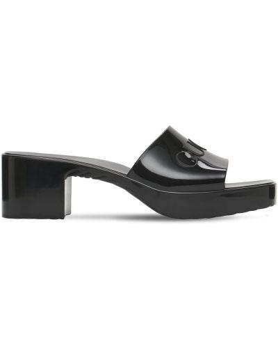 Czarne sandały na platformie na obcasie Gucci