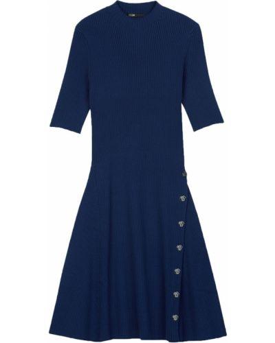 Платье в рубчик - синее Maje