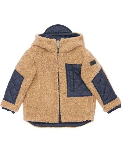 Nylon beżowy pikowana kurtka z mankietami z kieszeniami Il Gufo