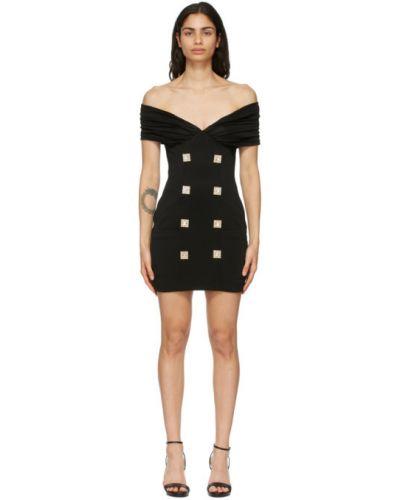 Czarny sukienka mini prążkowany z wiskozy Balmain