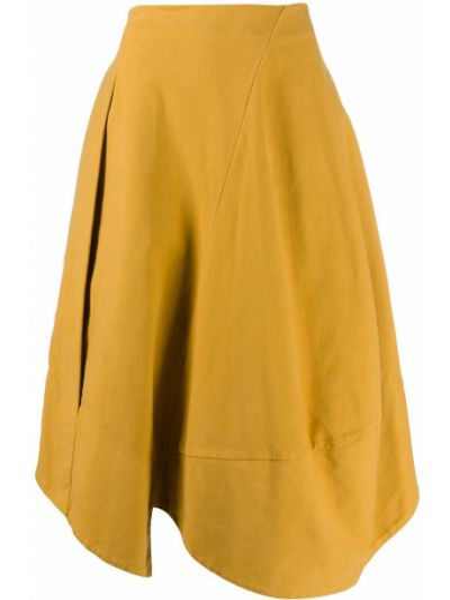 Хлопковая желтая асимметричная юбка со вставками Stefano Mortari