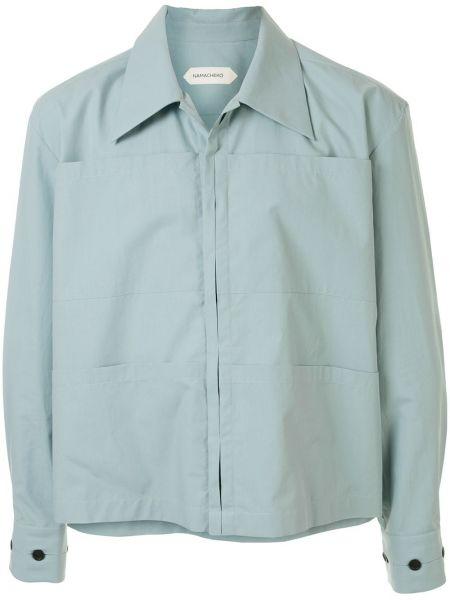 С рукавами синяя прямая рубашка на пуговицах Namacheko