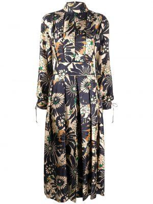 Синее шелковое платье с воротником на молнии Victoria Beckham