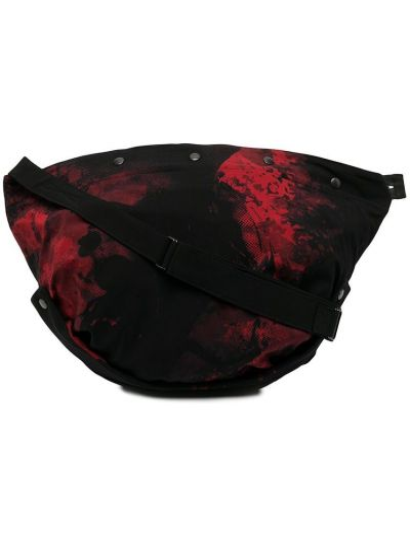 Czarna torba na ramię bawełniana z printem Yohji Yamamoto