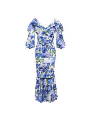 Шелковое платье - синее Dolce & Gabbana