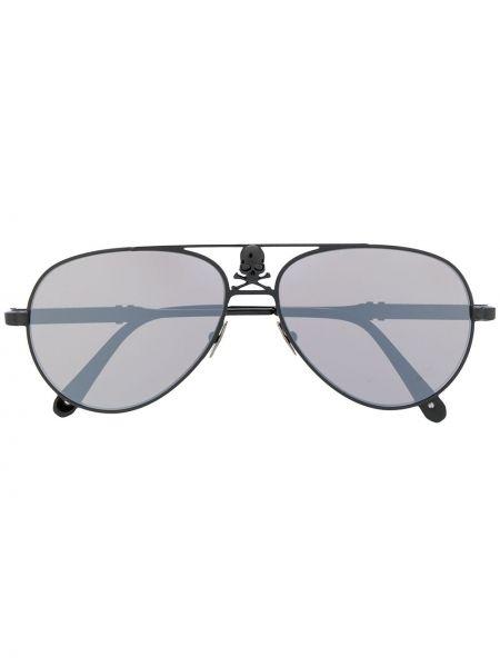 Прямые черные солнцезащитные очки с черепами Philipp Plein