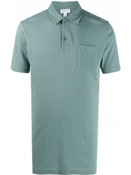 Зеленая рубашка с коротким рукавом с воротником с карманами с короткими рукавами Sunspel