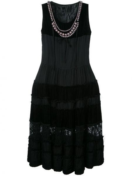 Бархатное ажурное платье винтажное без рукавов Comme Des Garçons Pre-owned
