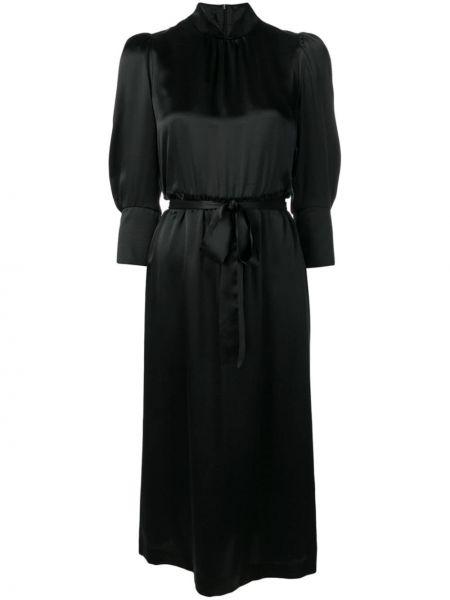 Черное шелковое платье миди с воротником с вырезом Simone Rocha