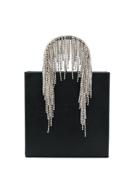 Skórzany z uchwytem czarny torba z logo Kara