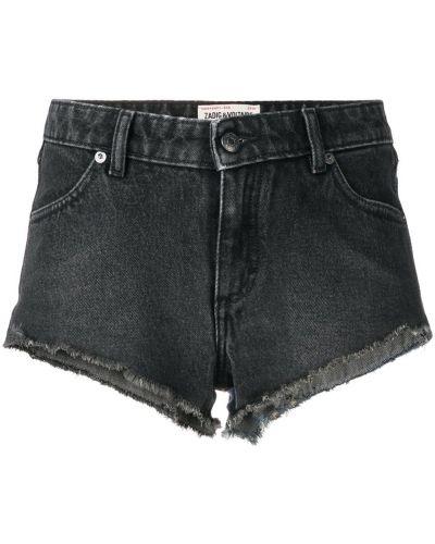Серые джинсовые шорты со стразами Zadig&voltaire