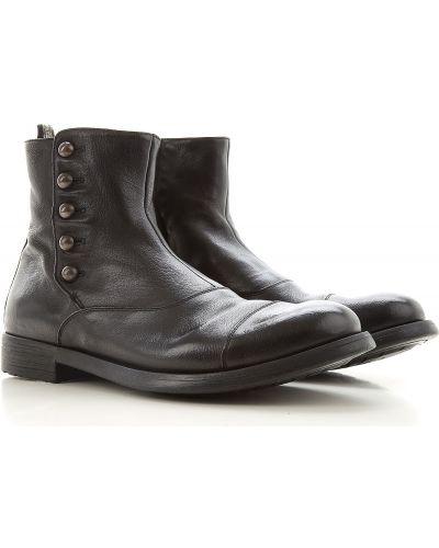 Skórzany czarny buciki okrągły Officine Creative