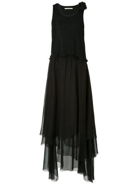 Черное расклешенное платье без рукавов с вырезом Aleksandr Manamïs