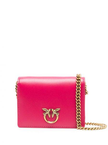 С ремешком розовая кожаная сумка на цепочке Pinko