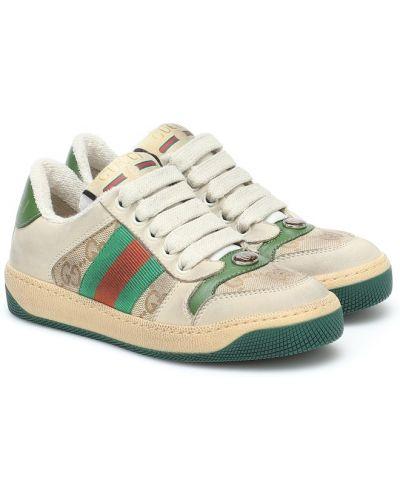 Sneakersy z prawdziwej skóry Gucci Kids