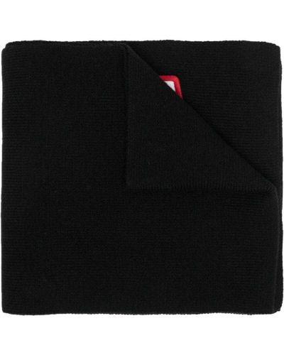 Czarny szalik wełniany z haftem Dsquared2