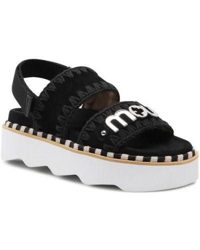 Czarne sandały z paskiem Mou
