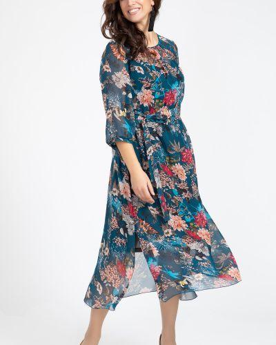 Нарядное с рукавами платье с поясом прима линия