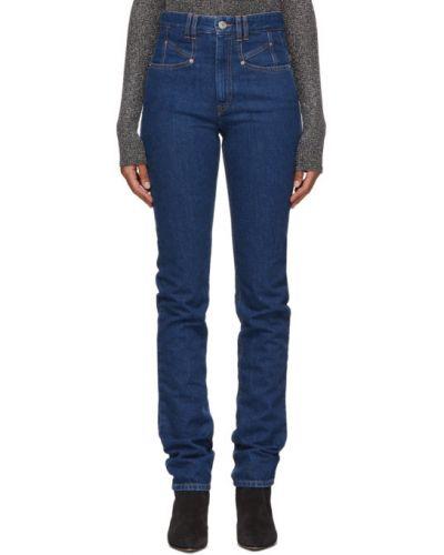 Niebieski jeansy na wysokości z kieszeniami wytłoczony Isabel Marant