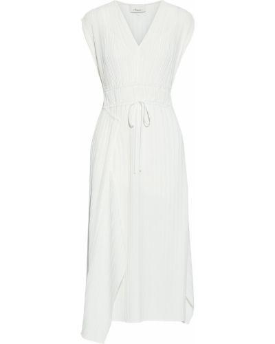 Асимметричное белое платье миди с драпировкой 3.1 Phillip Lim
