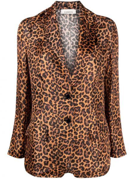Коричневый классический пиджак с карманами с отворотом Laneus