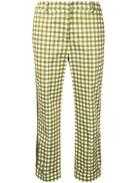 Зеленые укороченные брюки с воротником с поясом с потайной застежкой Silvia Tcherassi