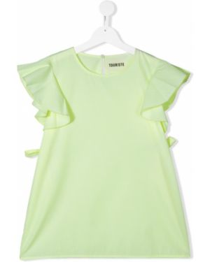 Зеленая блузка с круглым вырезом круглая Touriste