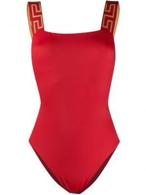 Пляжный красный купальник с шортами с вырезом на бретелях Versace