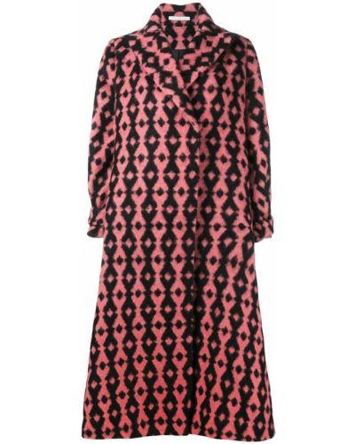 Розовое шерстяное длинное пальто с капюшоном Emilia Wickstead