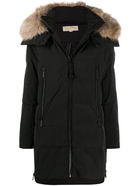 Черное длинное пальто с капюшоном из искусственного меха Michael Michael Kors