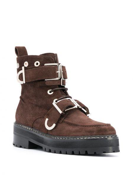 Кожаные коричневые ботильоны на шнуровке с пряжкой Alexa Chung