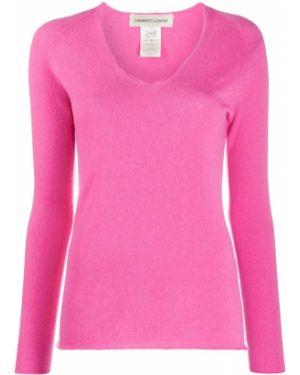 Кашемировый розовый вязаный свитер с V-образным вырезом Lamberto Losani