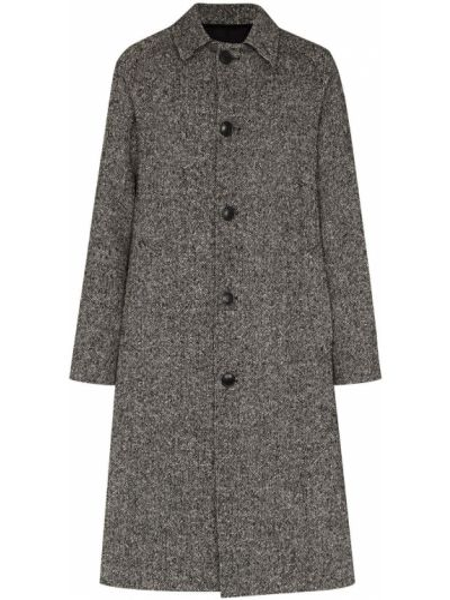 Klasyczny czarny płaszcz wełniany Ami