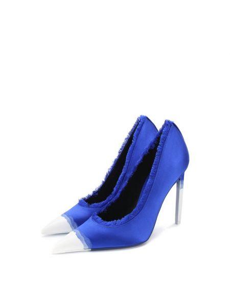 Зауженные сатиновые синие кожаные туфли с бахромой Tom Ford
