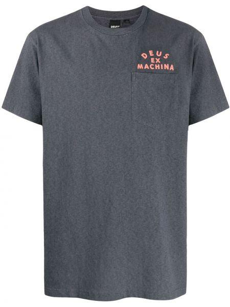 Прямая хлопковая серая футболка с карманами Deus Ex Machina