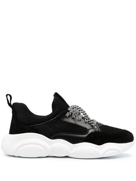 Koronkowa skórzany czarny sneakersy Moschino