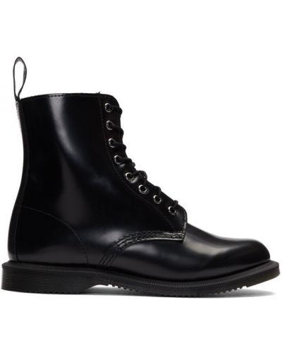 Czarny skórzany buty obcasy na pięcie Dr. Martens