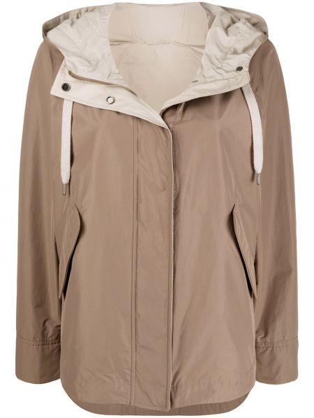 Хлопковая с рукавами куртка с капюшоном мятная на пуговицах Brunello Cucinelli