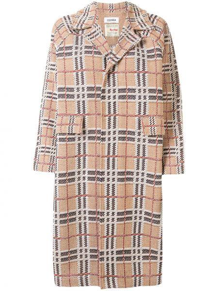 Коричневое длинное пальто с капюшоном твидовое Coohem