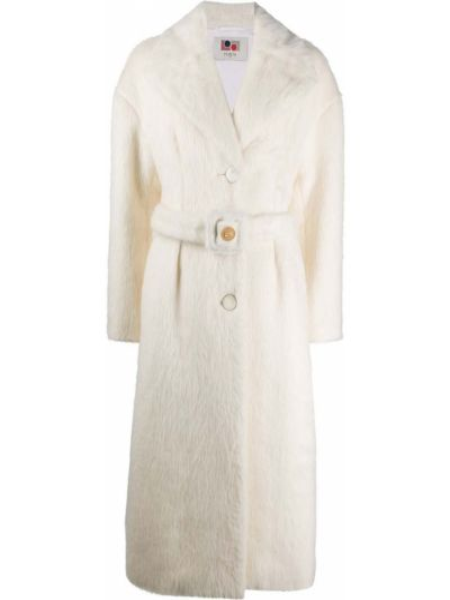 Белое пальто из альпаки с поясом на пуговицах Ports 1961