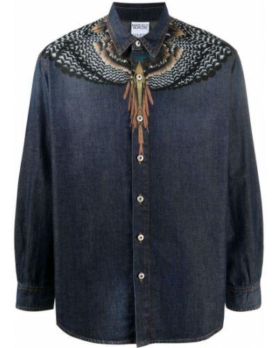 Niebieska koszula jeansowa bawełniana z długimi rękawami Marcelo Burlon County Of Milan