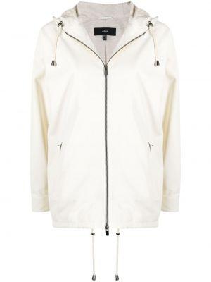 Белая кожаная длинная куртка с капюшоном Arma