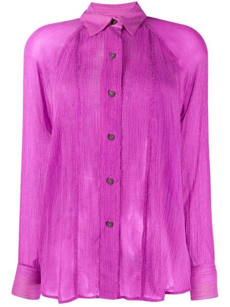 Приталенная рубашка с длинным рукавом - фиолетовая Mara Hoffman