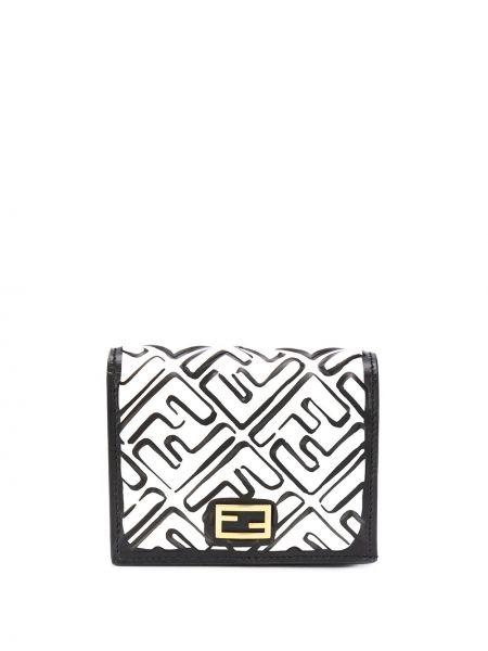 Skórzany czarny portfel z logo ze złota Fendi