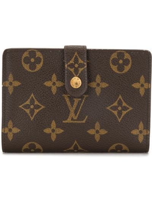 Золотистый коричневый кожаный кошелек Louis Vuitton