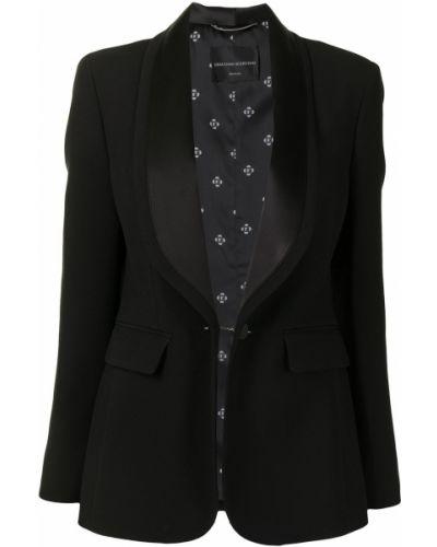Черный удлиненный пиджак с лацканами из вискозы Ermanno Scervino