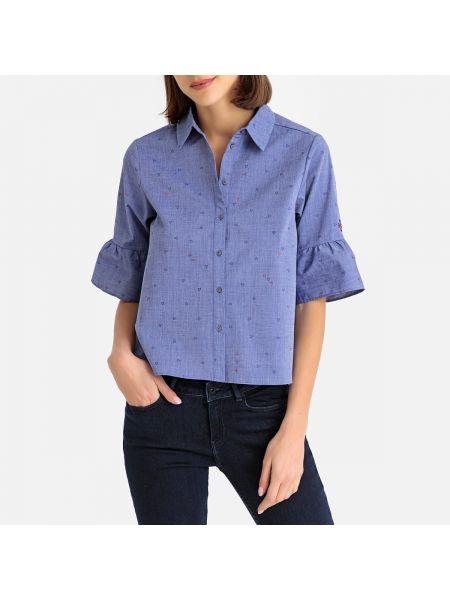 Рубашка с коротким рукавом приталенная с оборками Maison Scotch