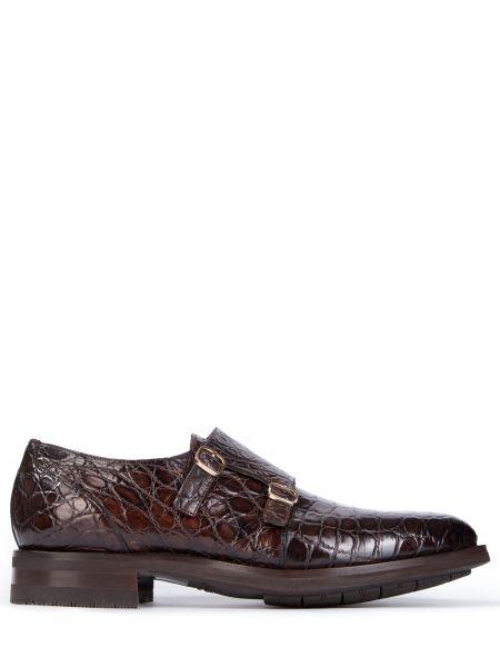 Коричневые туфли из крокодила с пряжкой Santoni