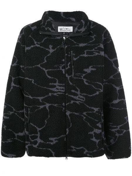 Czarna długa kurtka z długimi rękawami z printem Manastash