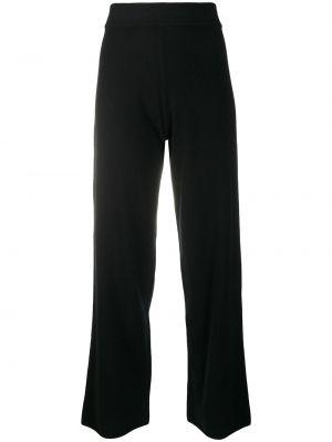 Кашемировые вязаные черные укороченные брюки Le Kasha